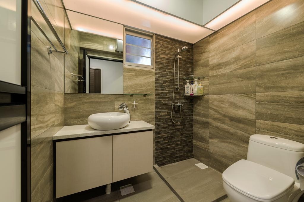 Modern, HDB, Bathroom, Rivervale Crescent (Block 162A), Interior Designer, 9 Creation, Hidden Interior Lighting, Protruding Sink, Ceramic Floor, Wooden Bathroom Cabinet, Wooden Bathroom Cupboard, Modern Contemporary Bathroom, Sink, Indoors, Interior Design, Room, Toilet