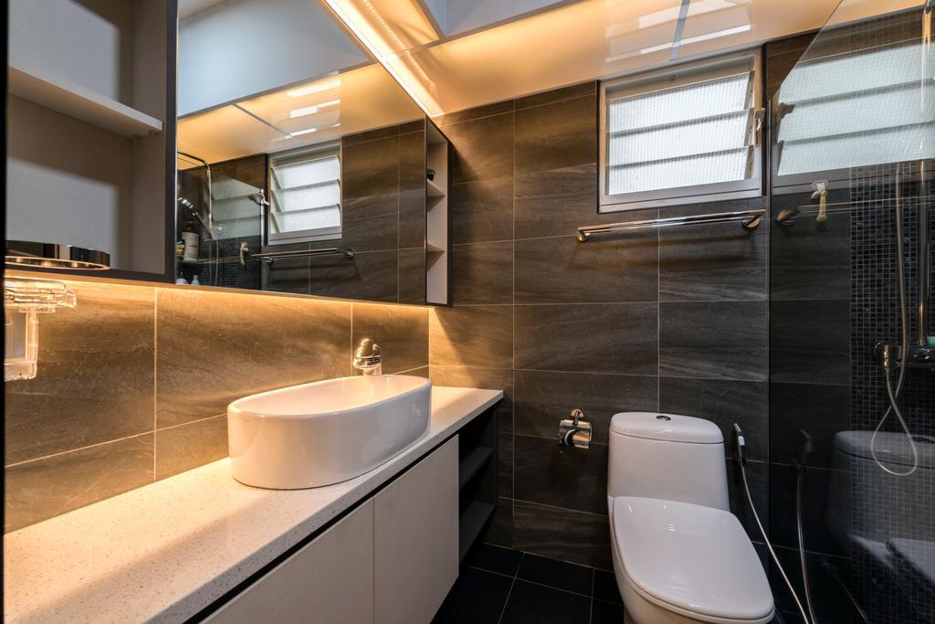 Modern, HDB, Bathroom, Rivervale Crescent (Block 162A), Interior Designer, 9 Creation, Toilet