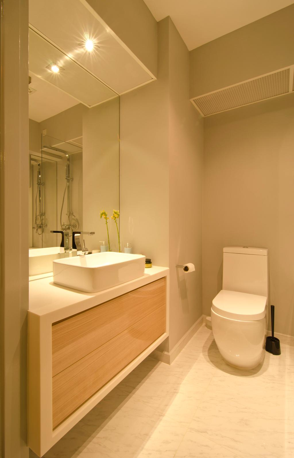 Contemporary, HDB, Bathroom, 27 Ghim Moh Link, Interior Designer, Fifth Avenue Interior, White Basin, Brown Drawers, Mirrors, Marble Flooring, Toilet Bowl, Mirror Lighting, Toilet, Indoors, Interior Design, Room
