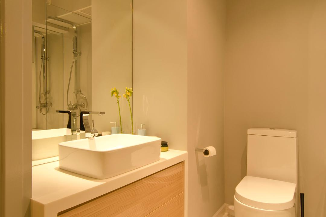 27 Ghim Moh Link, Fifth Avenue Interior, Contemporary, Bathroom, HDB, White Basin, Brown Drawers, Mirrors, Marble Flooring, Toilet Bowl, Mirror Lighting, Toilet, Indoors, Interior Design, Room