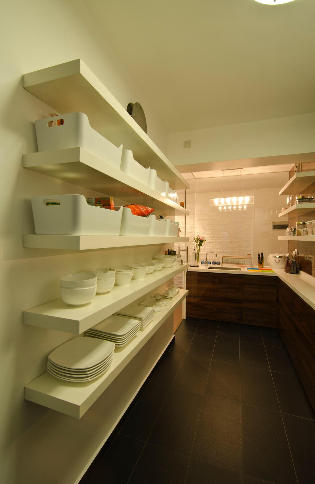 Contemporary, HDB, Kitchen, 27 Ghim Moh Link, Interior Designer, Fifth Avenue Interior, Brown Cabinets, Wall Mounted Shelves, Shelves, White Shelves, Pendant Lighting, Bathroom, Indoors, Interior Design, Room, Appliance, Electrical Device, Oven