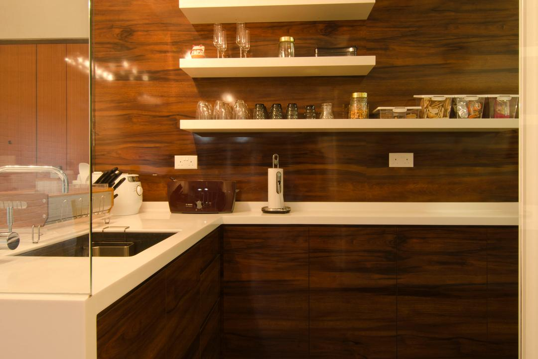 27 Ghim Moh Link, Fifth Avenue Interior, Contemporary, Kitchen, HDB, Hanging Light, Pendant Lighting, Wood Theme, Wall Mounted Shelves, Wall Mount, Shelves, Shelf, White Sink Top, Laminate Wall, Sink, Indoors, Interior Design, Room