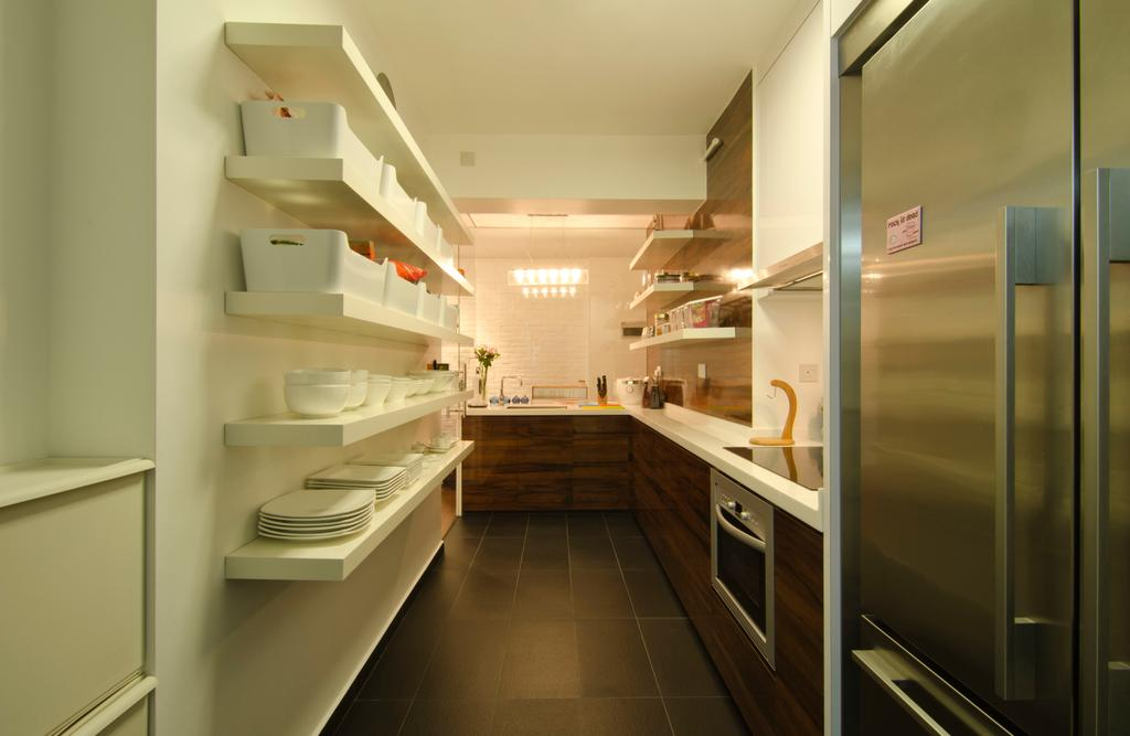 Contemporary, HDB, Kitchen, 27 Ghim Moh Link, Interior Designer, Fifth Avenue Interior, Wall Mounted Shelves, White Shelves, Black Flooring, Brown Cabinets, Refrigerator