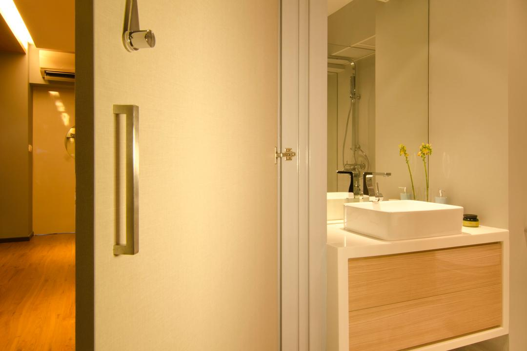 27 Ghim Moh Link, Fifth Avenue Interior, Contemporary, Bathroom, HDB, Laninate Flooring, Marble Flooring, Carpet, Brown Drawer, White Basin, Mirror, Indoors, Interior Design, Room