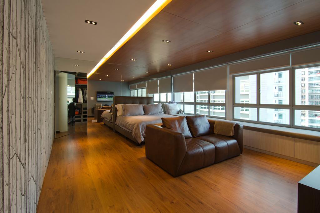Contemporary, HDB, Bedroom, 27 Ghim Moh Link, Interior Designer, Fifth Avenue Interior, Recessed Lighting, Concealed Lighting, False Ceiling, Laminate Flooring, Wallpaper, Brown Sofa, Blinds, Couch, Furniture, Hardwood, Wood