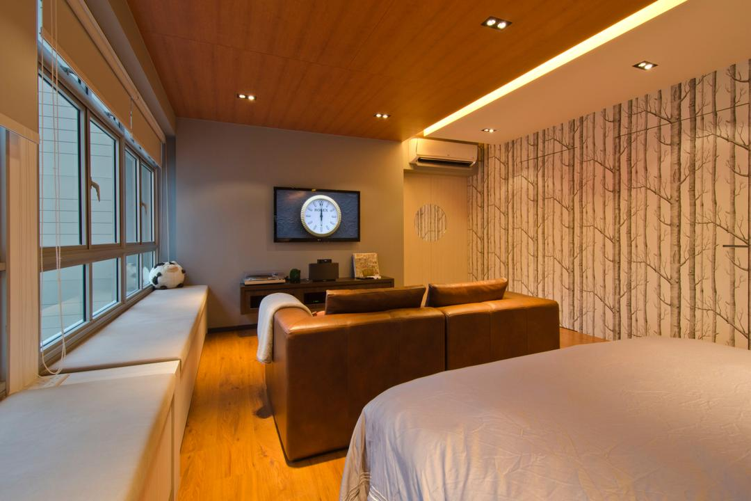 27 Ghim Moh Link, Fifth Avenue Interior, Contemporary, Living Room, HDB, Wallpaper, False Ceiling, Recessed Lighting, Wooden Theme, Bay Window, Benches, Seats, Blinds, Brown Sofa, Concealed Lighting, Laminate Floorin, Clock, Indoors, Room, Couch, Furniture