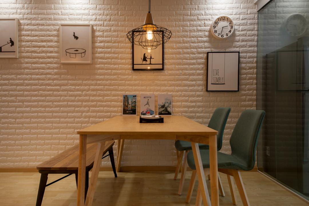 Bedok North Avenue 1, Starry Homestead, Eclectic, Dining Room, HDB, Modern Contemporary Dining Room, Wooden Dining Table, Wooden Dining Bench, Dining Chair, Brick Walls, Hanging Lights, Chair, Furniture, Light Fixture, Indoors, Interior Design, Room, Table, Dining Table, Clock, Brick