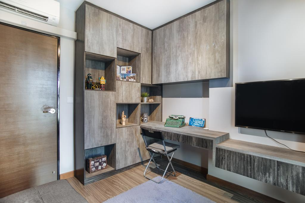 Scandinavian, HDB, Study, Punggol Breeze, Interior Designer, Starry Homestead, Modern Contemporary Study Room, Wooden Floor, Wooden Door, Wall Mounted Wooden Desk, Wooden Shelves, Wall Mounted Television, Building, Housing, Indoors, Shelf, Chair, Furniture