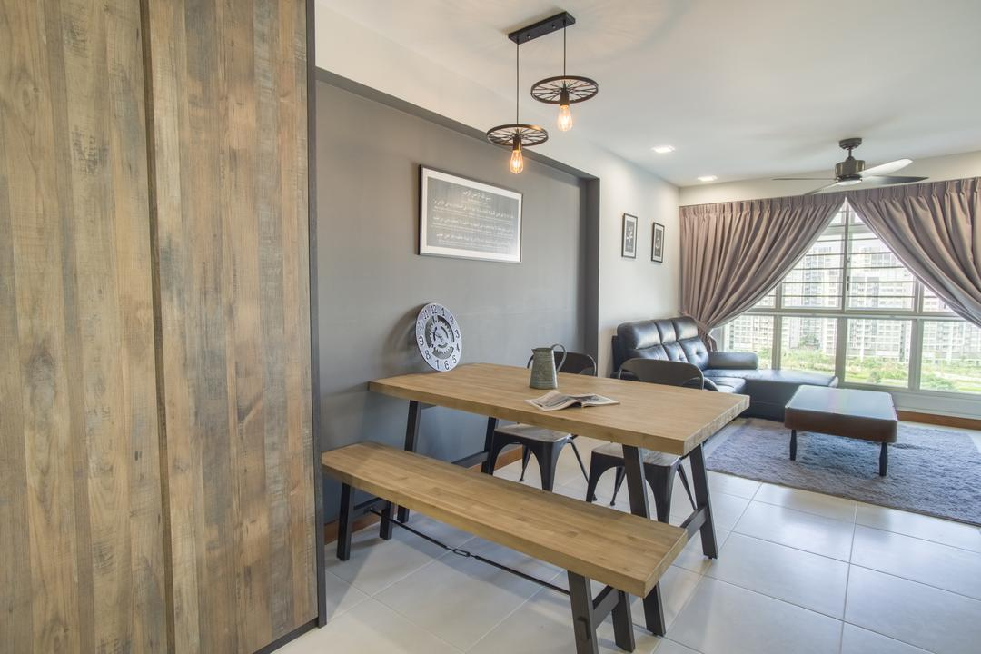 Punggol Breeze, Starry Homestead, Scandinavian, Dining Room, HDB, Modern Contemporary Dining Room, Sling Curtain, Hanging Light, Wooden Dining Table, Wooden Dining Bench, Dining Chair, Chair, Furniture, Indoors, Interior Design, Room, Dining Table, Table