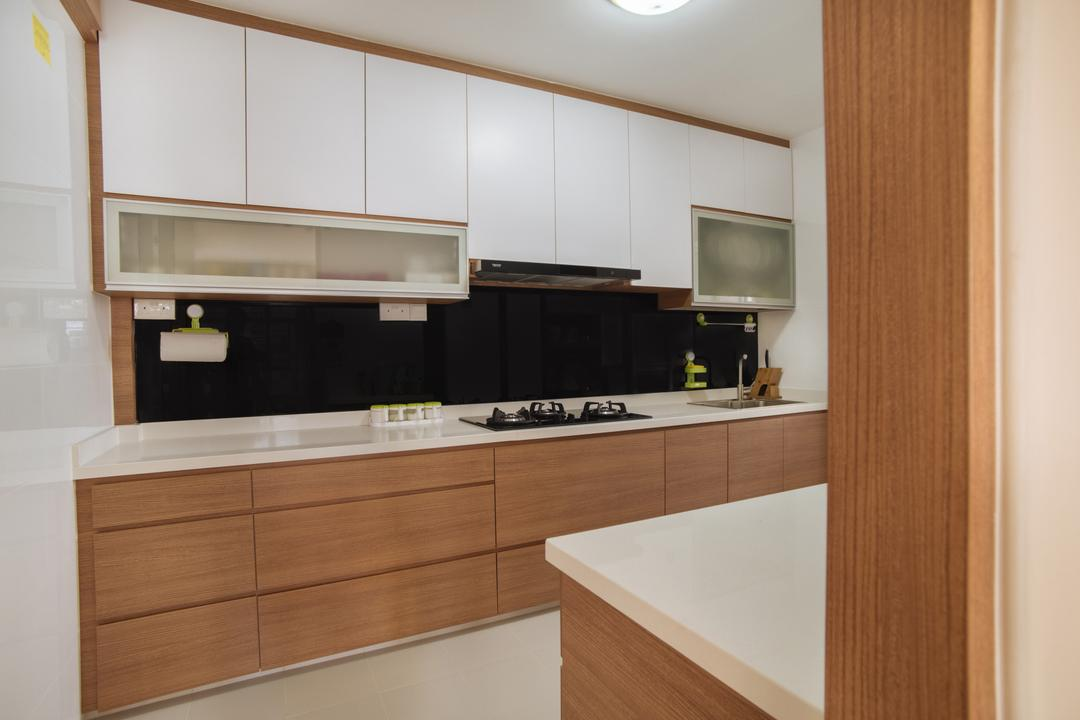 Rivervale Delta, Starry Homestead, Modern, Kitchen, HDB, Modern Contemporary Kitchen, Wooden Kitchen Cupboard, Wooden Kitchen Cabinet, White Laminated Top, Ceiling Light, White Kitchen Cupboard, White Kitchen Cabinet, Indoors, Interior Design, Room, Appliance, Electrical Device, Oven
