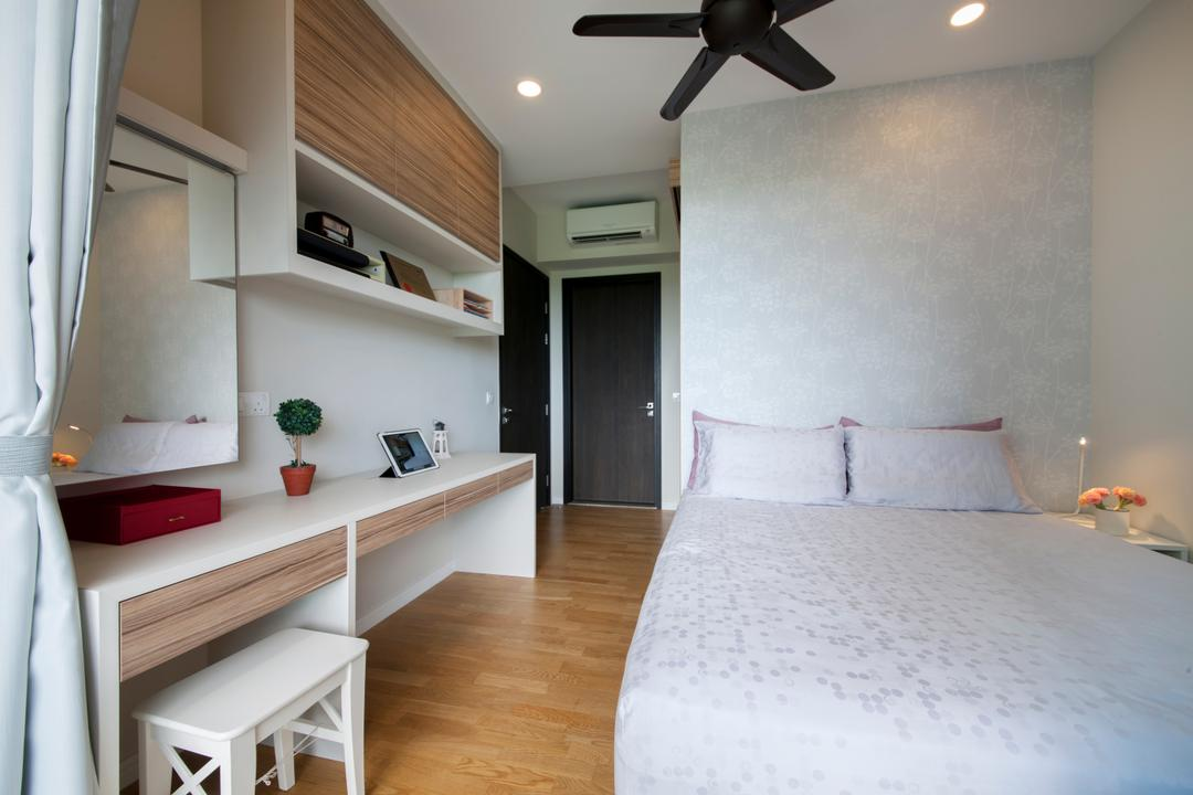 Thomson Grand, Starry Homestead, Modern, Bedroom, Condo, Modern Contemporary Bedroom, King Size Bed, Cozy, Cosy, Wooden Floor, Wall Mounted Shelves, Recessed Lights, Ceiling Fan, White Chair, White Desk, Door, Sliding Door, Flooring, Shelf