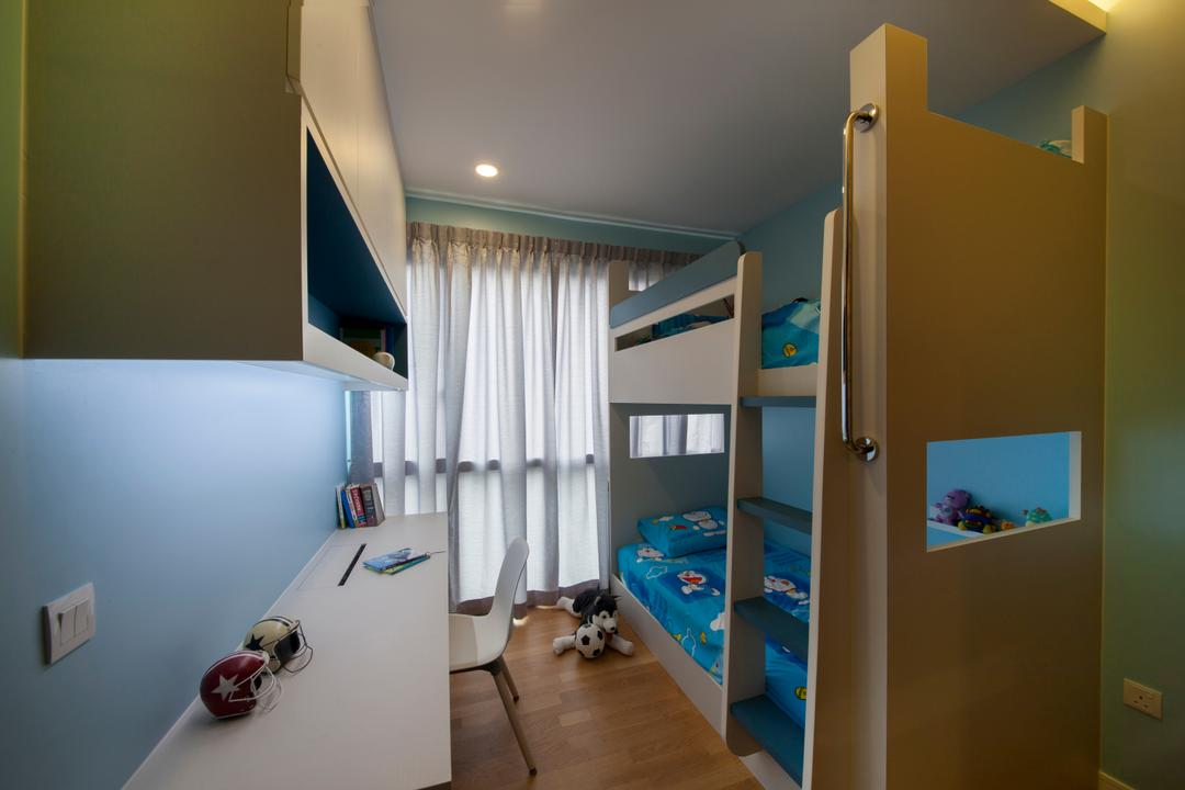 Thomson Grand, Starry Homestead, Modern, Bedroom, Condo, Modern Contemporary Bedroom, Wooden Floor, Double Decker Bed, Recessed Lights, Wall Mounted Wooden Desk, Wall Mounted Shelves, Sling Curtain