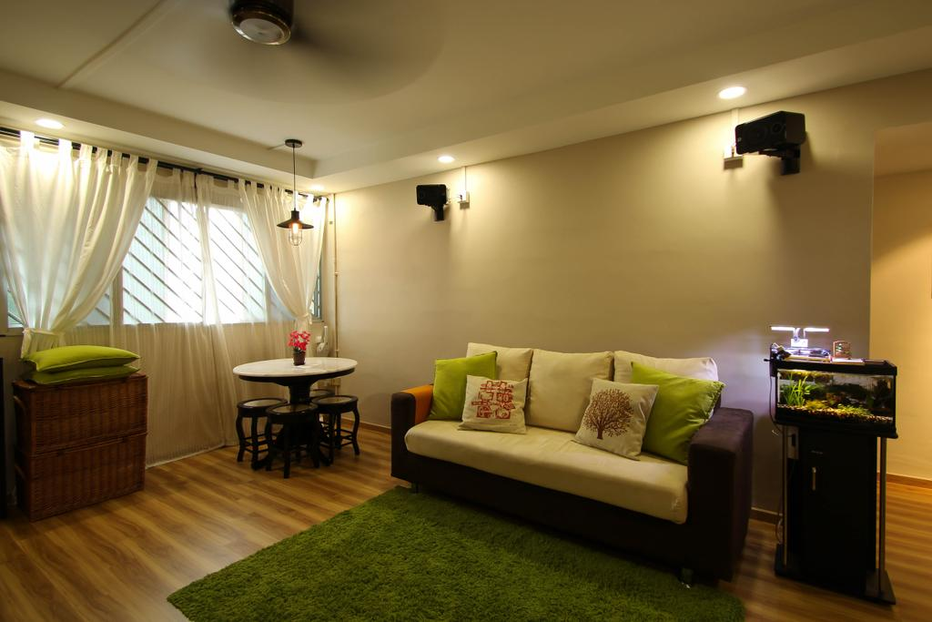 Retro, HDB, Living Room, Ang Mo Kio, Interior Designer, Fifth Avenue Interior, Recessed Lighting, Grass Rug, Laminate Flooring, White Curtains, Double Layer Curtains, Wooden Cabinet, Round Table And Chairs, Dining Table, Furniture, Table, Couch, Building, Housing, Indoors, Room