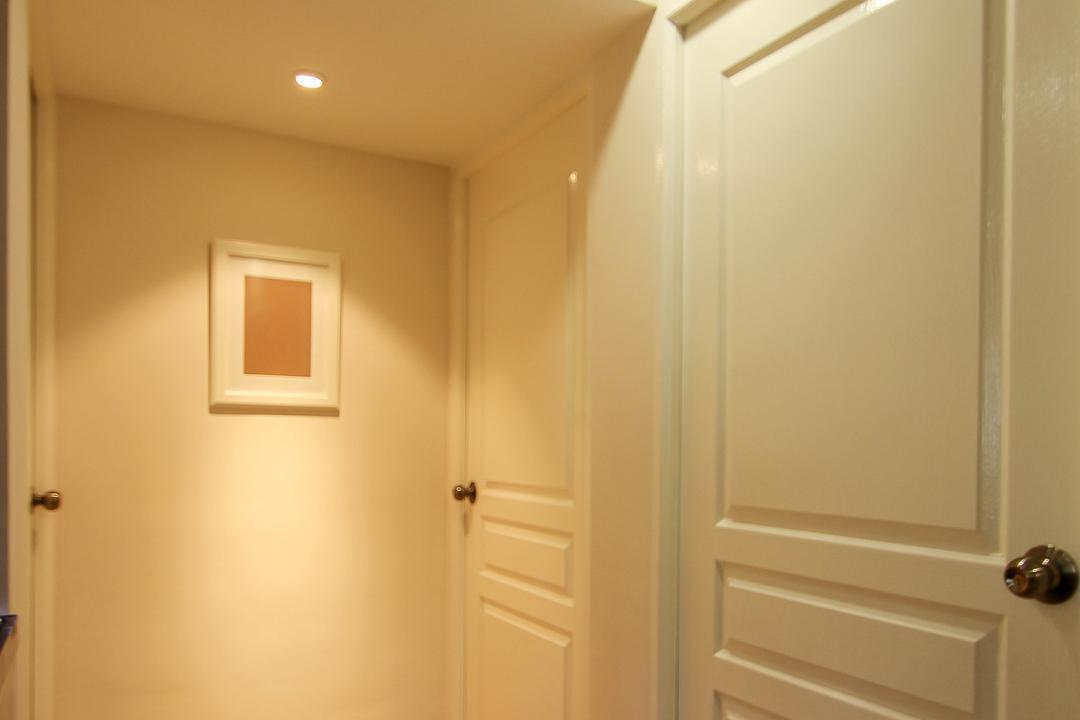 Ang Mo Kio, Fifth Avenue Interior, Retro, Living Room, HDB, Recessed Lighting, Laminate Flooring, Wallart, Lighted Coridoor, White Room Doors, White Doors, Indoors, Interior Design