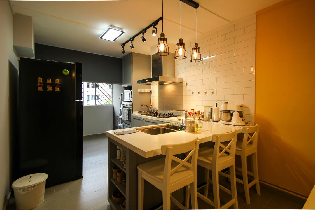 Ang Mo Kio, Fifth Avenue Interior, Retro, Dining Room, HDB, Pendant Lights, Hanging Lights, Track Lights, High Chairs, Brick Wall Design, Sink, Indoors, Interior Design, Room, Dining Table, Furniture, Table, Chair
