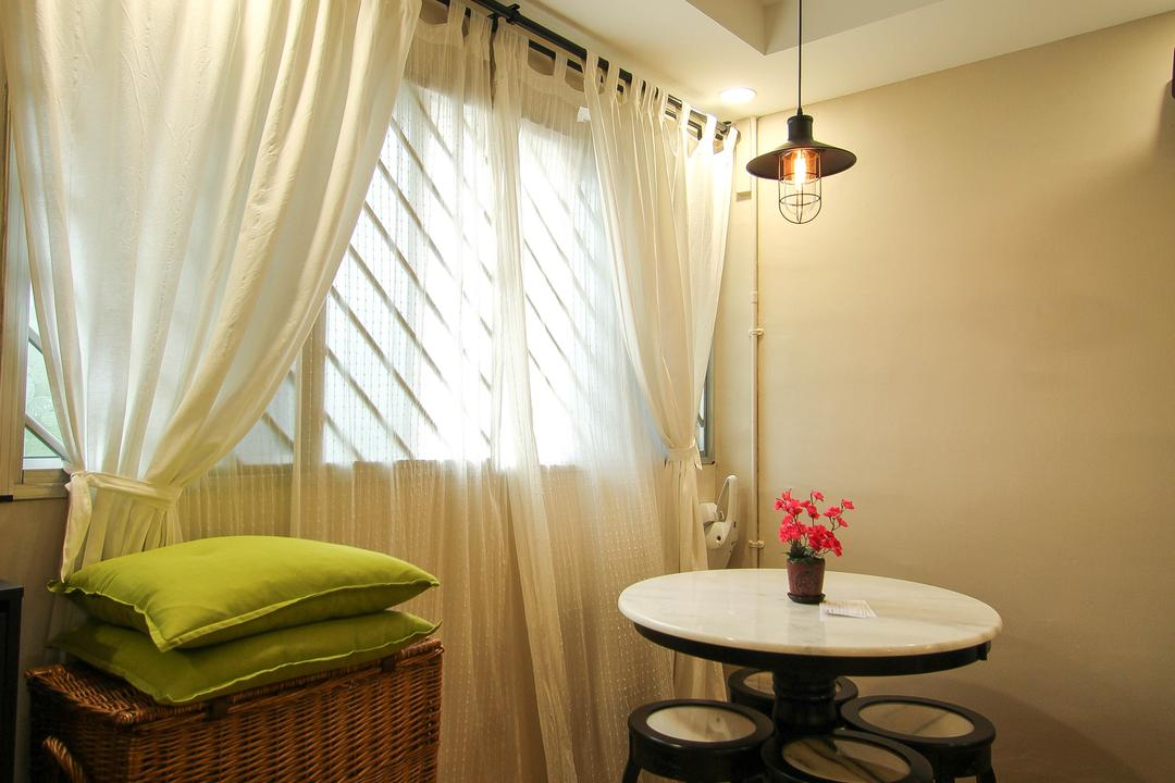 Ang Mo Kio, Fifth Avenue Interior, Retro, Living Room, HDB, Pendant Light, Hanging Light, Laminate Flooring, Green Cushions, Woven Cabinet, White Curtains, Double Layered Curtains, Round Table And Chairs, Chair, Furniture, Dining Table, Table