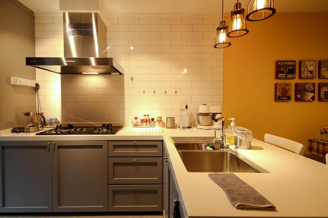 Ang Mo Kio, Fifth Avenue Interior, Retro, Kitchen, HDB, Brick Wall Design, Pendant Lights, Hanging Lights, Orange Wall, White Kitchen Top, Grey Cabinets, Gray Cabinets, Wallart, Cooking Hood, Indoors, Interior Design, Room, Sink, Appliance, Electrical Device, Oven, Dining Room