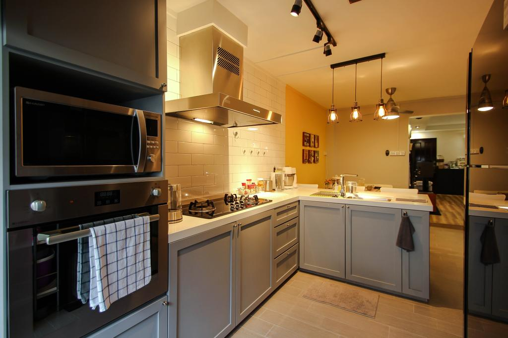 Retro, HDB, Kitchen, Ang Mo Kio, Interior Designer, Fifth Avenue Interior, Track Lighting, Pendant Lighting, Hanging Lights, White Cabinet, Indoors, Interior Design, Room, Appliance, Electrical Device, Microwave, Oven