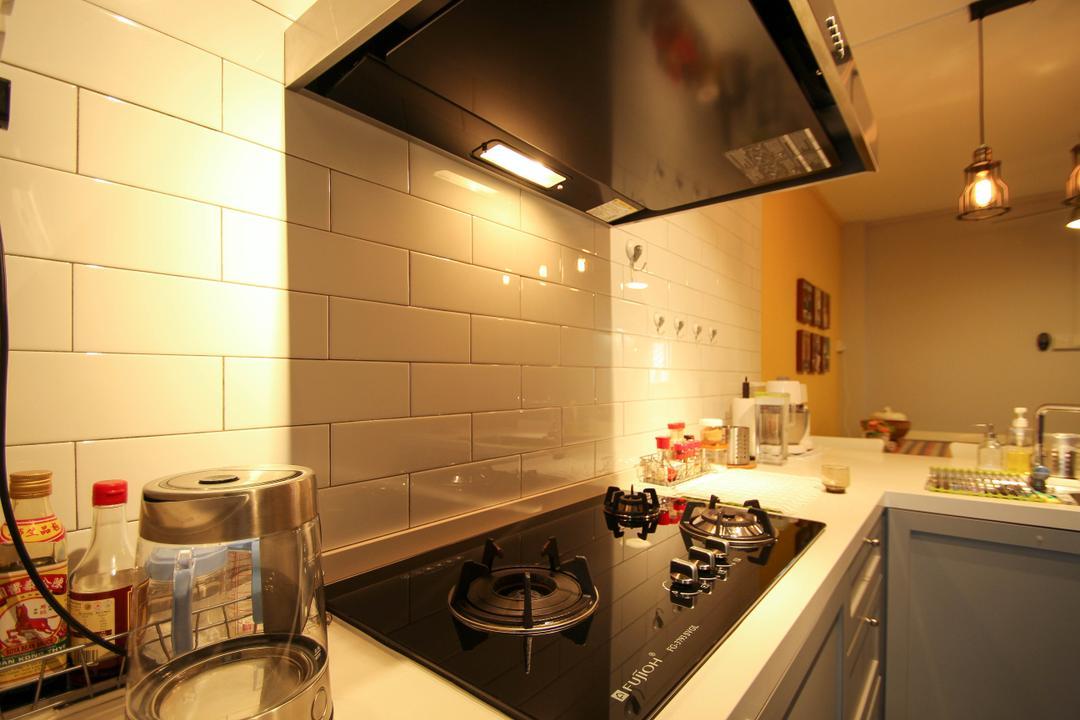 Ang Mo Kio, Fifth Avenue Interior, Retro, Kitchen, HDB, Brick Wall Design, Bottle, Indoors, Interior Design, Room, Lighting