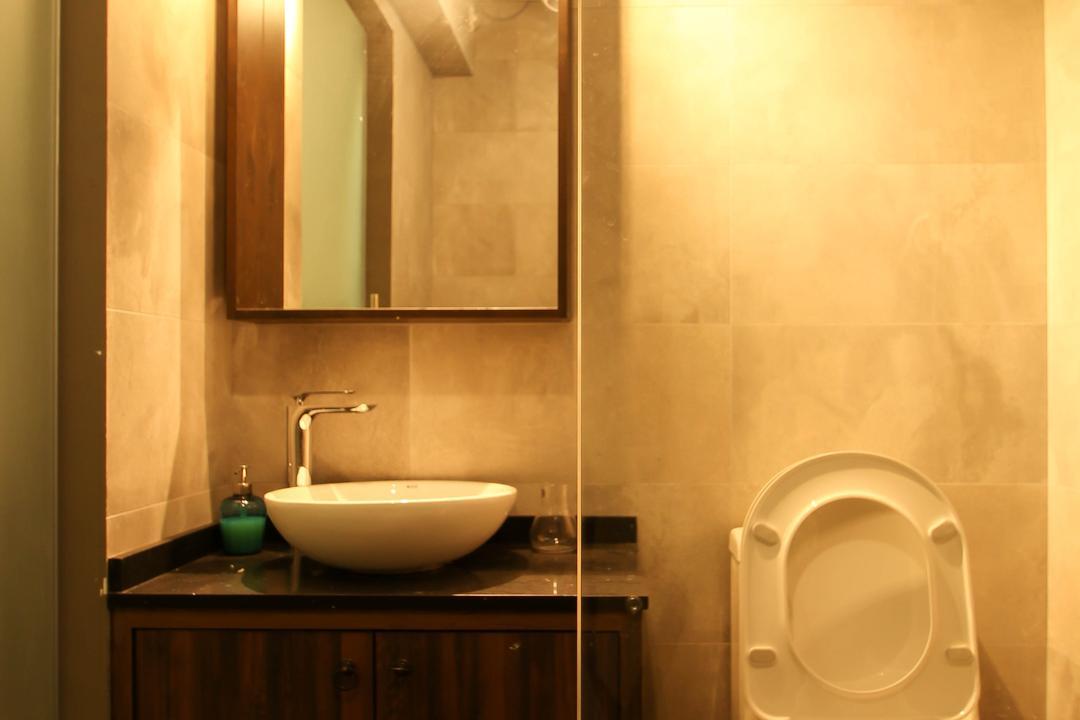 Upper Serangoon Crescent (Block 470), Fifth Avenue Interior, Contemporary, Bathroom, HDB, White Track Lighting, Glass Doors, Mirror, White Round Basin, Wooden Cabinet, Toilet, Indoors, Interior Design, Room