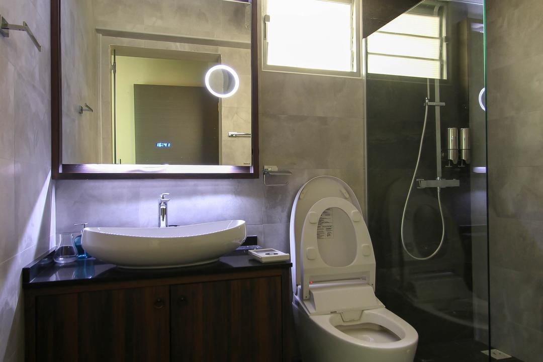 Upper Serangoon Crescent (Block 470), Fifth Avenue Interior, Contemporary, Bathroom, HDB, Mirror, Grey Flooring, Gray Flooring, Glass Shower Doors, White Basin, Mirror Lighting, Indoors, Interior Design, Room