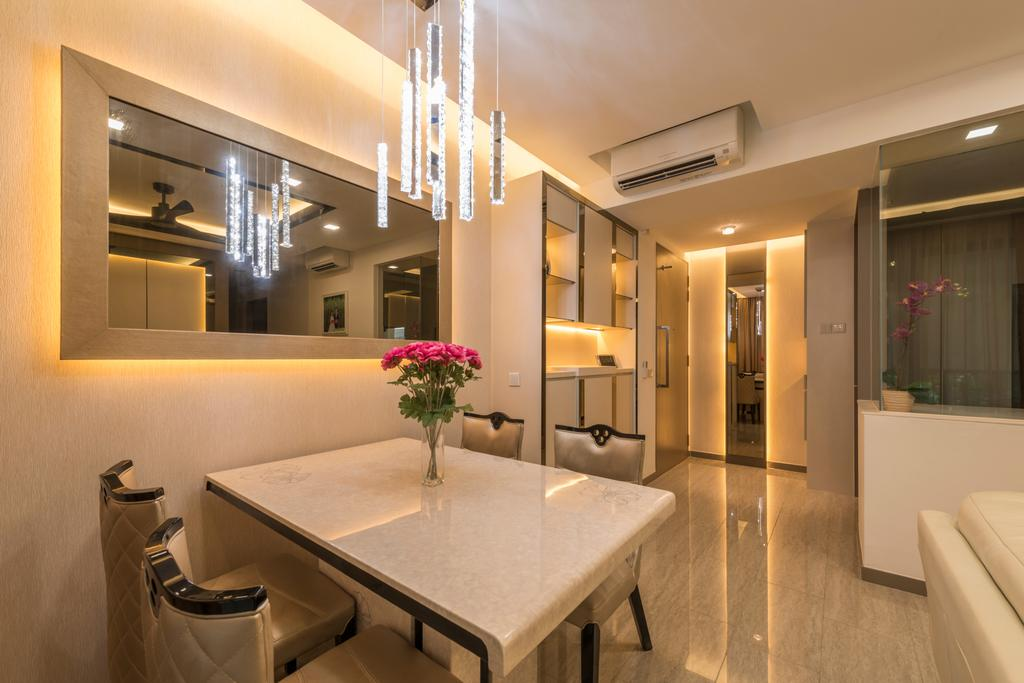Transitional, Condo, Dining Room, Waterwoods, Interior Designer, Space Vision Design, White Laminated Table Top, Hanging Light, White Dining Table, Dining Chair, Recessed Lights, Hidden Interior Lighting, Modern Contemporary Dining Room, Indoors, Interior Design, Room