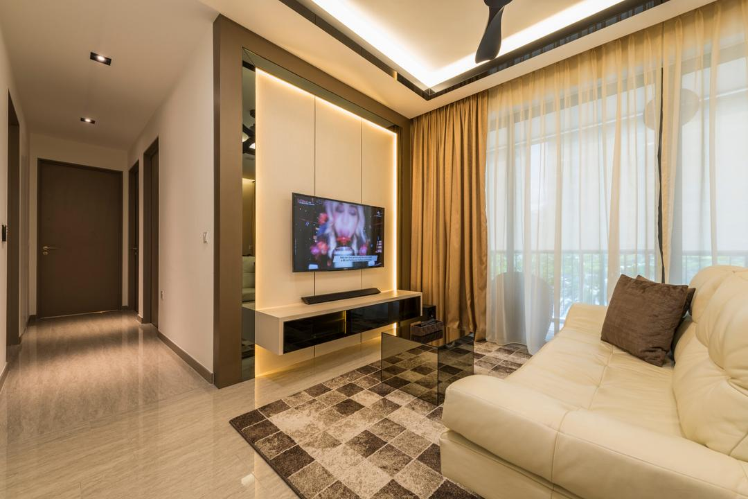 Waterwoods, Space Vision Design, Transitional, Living Room, Condo, Modern Contemporary Living Room, Hidden Interior Lighting, Ceiling Fan, Wall Mounted Teelvision, Square Patterned Rug, Floating Television Conosle, Sling Curtain, Indoors, Interior Design, Corridor, Flooring