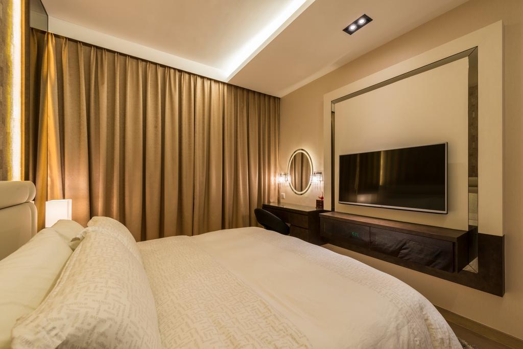 Transitional, Condo, Bedroom, Waterwoods, Interior Designer, Space Vision Design, Indoors, Room, Bed, Furniture, Sink, Interior Design