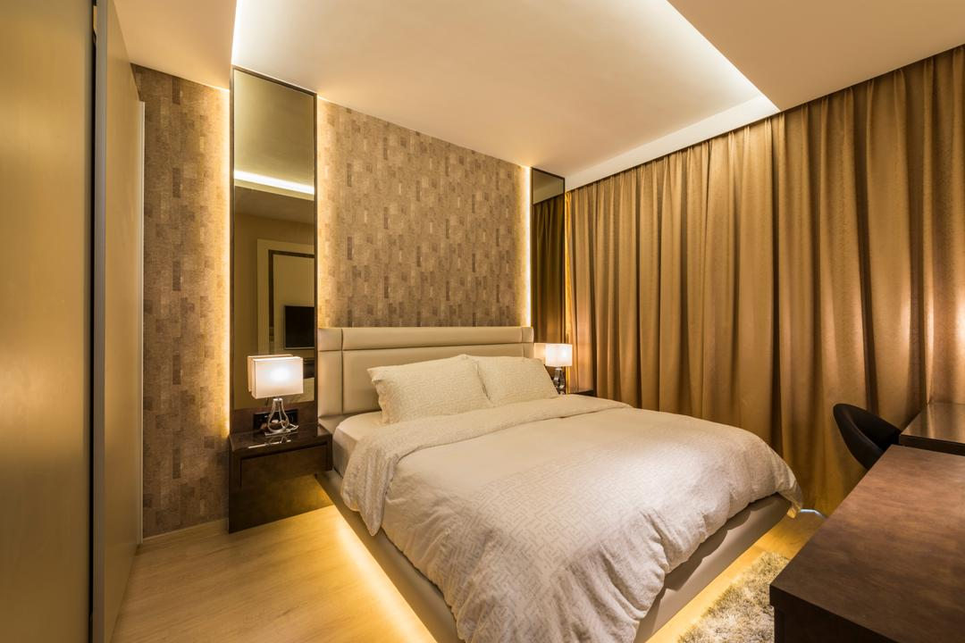 Waterwoods, Space Vision Design, Transitional, Bedroom, Condo, King Size Bed, Coffered Ceiling, Hidden Interior Lighting, Cozy, Cosy, Sling Curtain, Wooden Floor, Modern Contemporary Bedroom, Bed, Furniture, Lamp, Indoors, Interior Design, Room