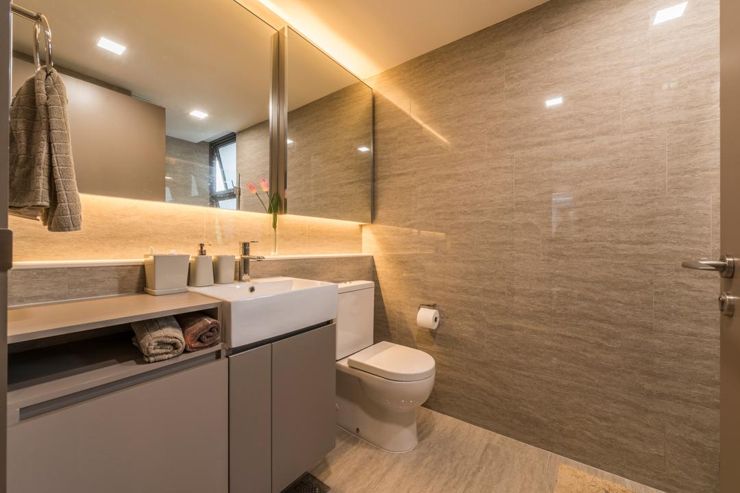 Waterwoods, Space Vision Design, Transitional, Bathroom, Condo, Modern Contemporary Bathroom, Resort Theme, Hidden Interior Lighting, Protruding Sink, Bathroom Cabinet, Marble Wall, Toilet, Indoors, Interior Design, Room
