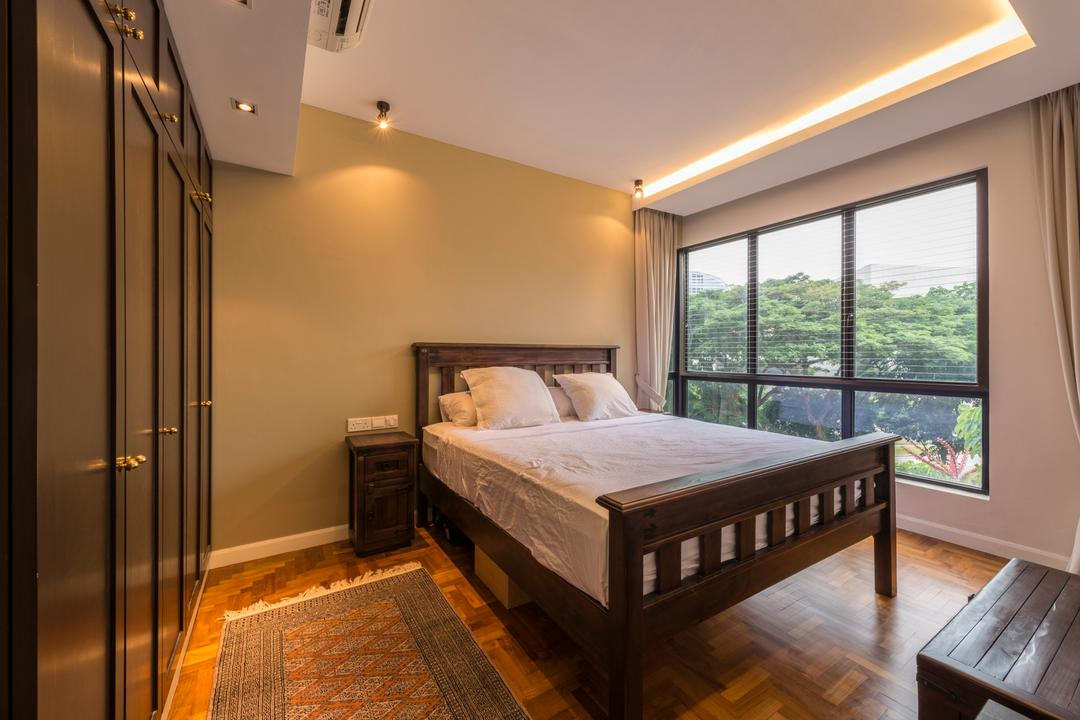 Heritage View (6 Dover Rise), Space Vision Design, Modern, Bedroom, Condo, Wooden Floor, Wooden Bedroom Panel, Wooden Bed Platform, Wooden Bedding Platform, Wooden Wardrobe, Glass Panel, Cozy, Cosy, Modern Contemporary Bedroom, Bed, Furniture, Hardwood, Stained Wood, Wood, Indoors, Interior Design, Room