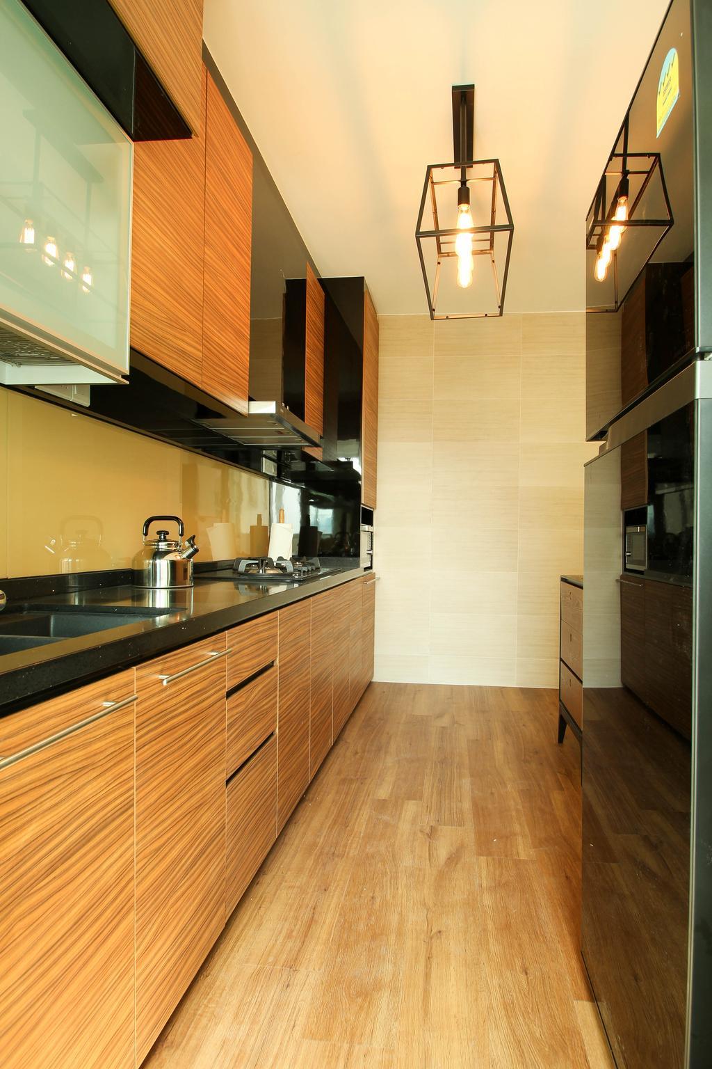 Contemporary, HDB, Kitchen, Upper Serangoon Crescent (Block 470), Interior Designer, Fifth Avenue Interior, Pendant Lighting, Laminate Flooring, Wooden Theme, Black Kitchen Top, Laminated Cabinet