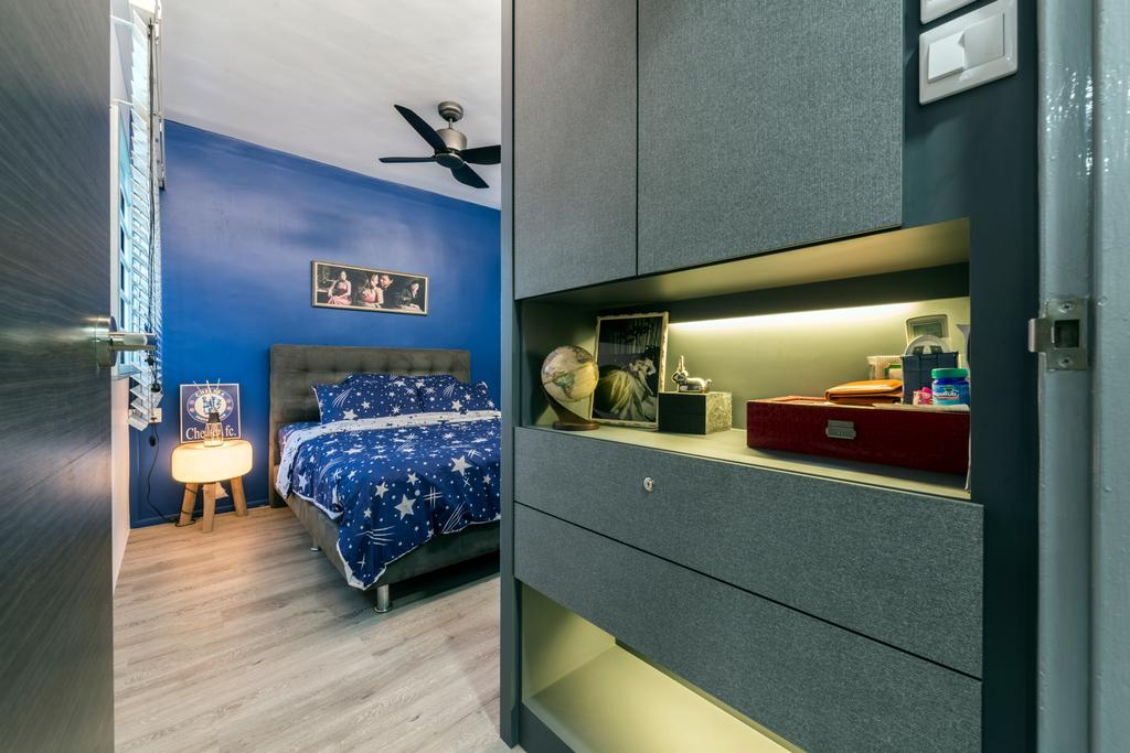 Contemporary, HDB, Bedroom, Lompang Road (Block 177), Interior Designer, Boon Siew D'sign, Building, City, High Rise, Town, Urban