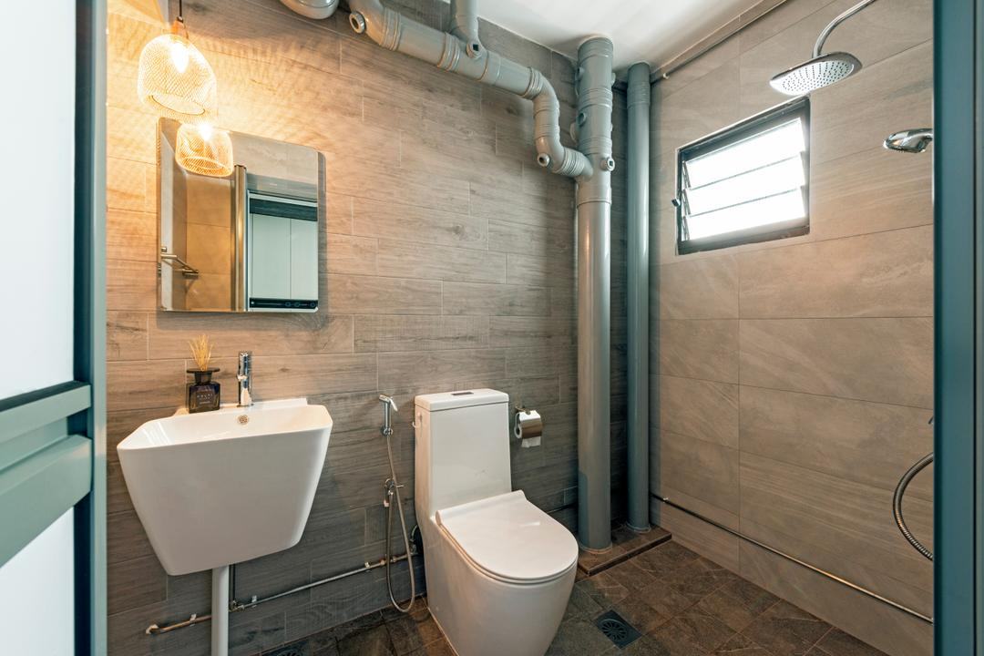 Lompang Road (Block 177), Boon Siew D'sign, Contemporary, Bathroom, HDB, Modern Contemporary Bathroom, Wooden Wall, Wall Mounted Sink, Hanging Lights, Sink, Indoors, Interior Design, Room, Light Fixture