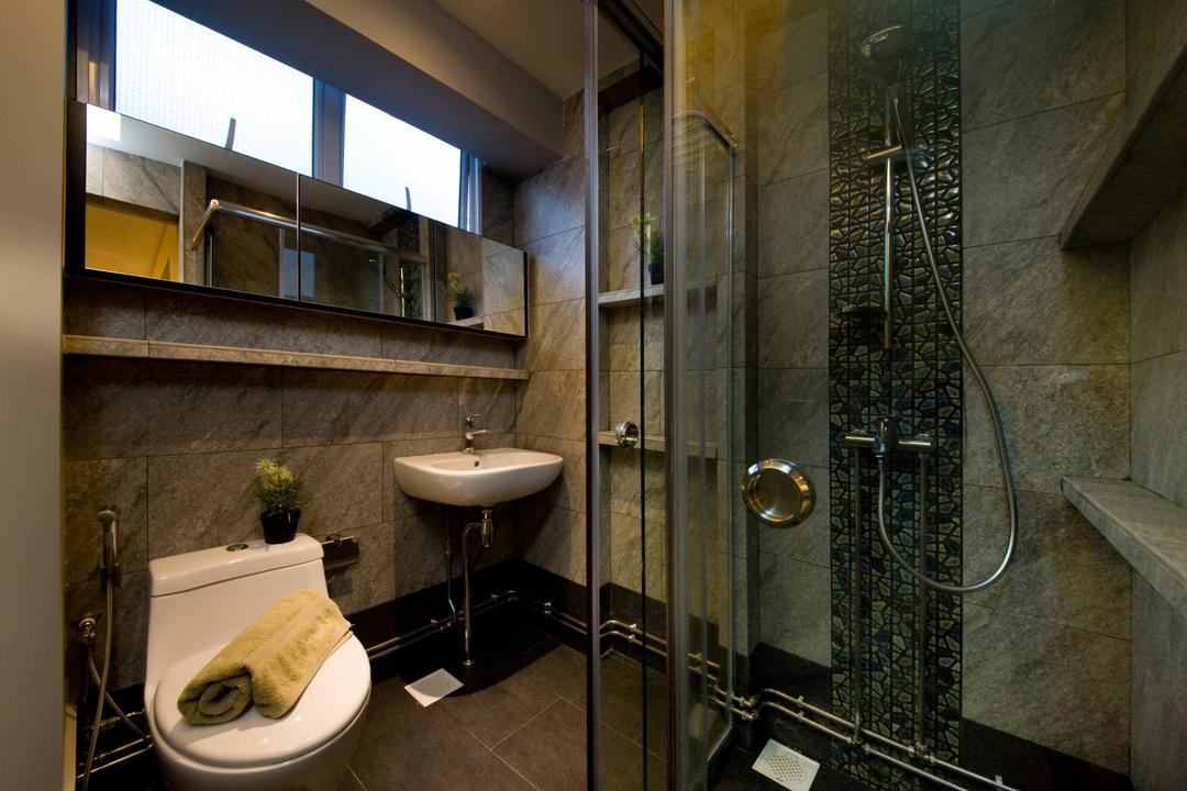 Pasir Ris Street 12, Fatema Design Studio, Contemporary, Bathroom, HDB, Bathroom Tiles, Mosaic Tiles, Potted Plant, Homogenous Tiles, Marble Tiles, Glass Door, Bathroom Glass Door, Shower Glass Door
