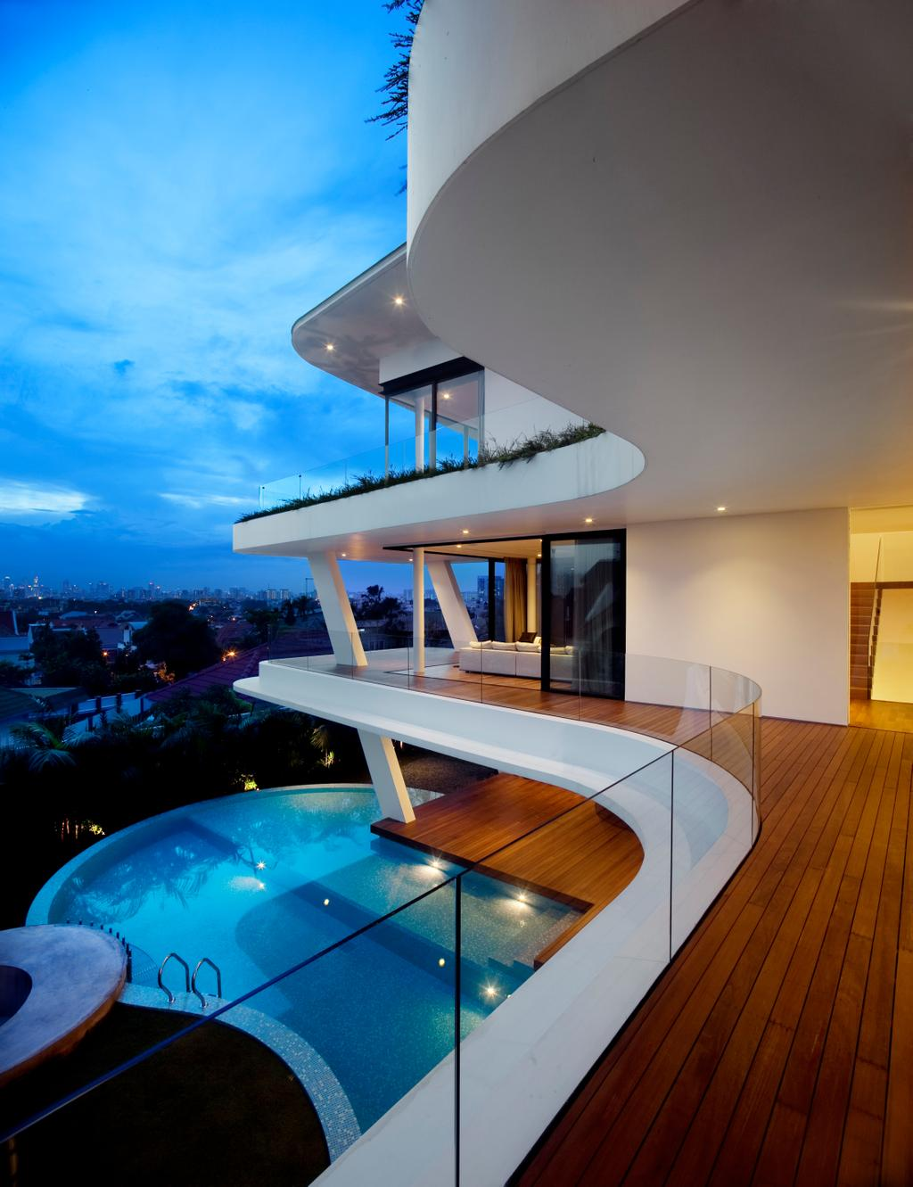 Contemporary, Landed, Ninety7 @ Siglap, Architect, Aamer Architects, Curve Architecture, Wooden Flooring, Glass Barricade, Pool, In House Pool, House Pool, Majestic