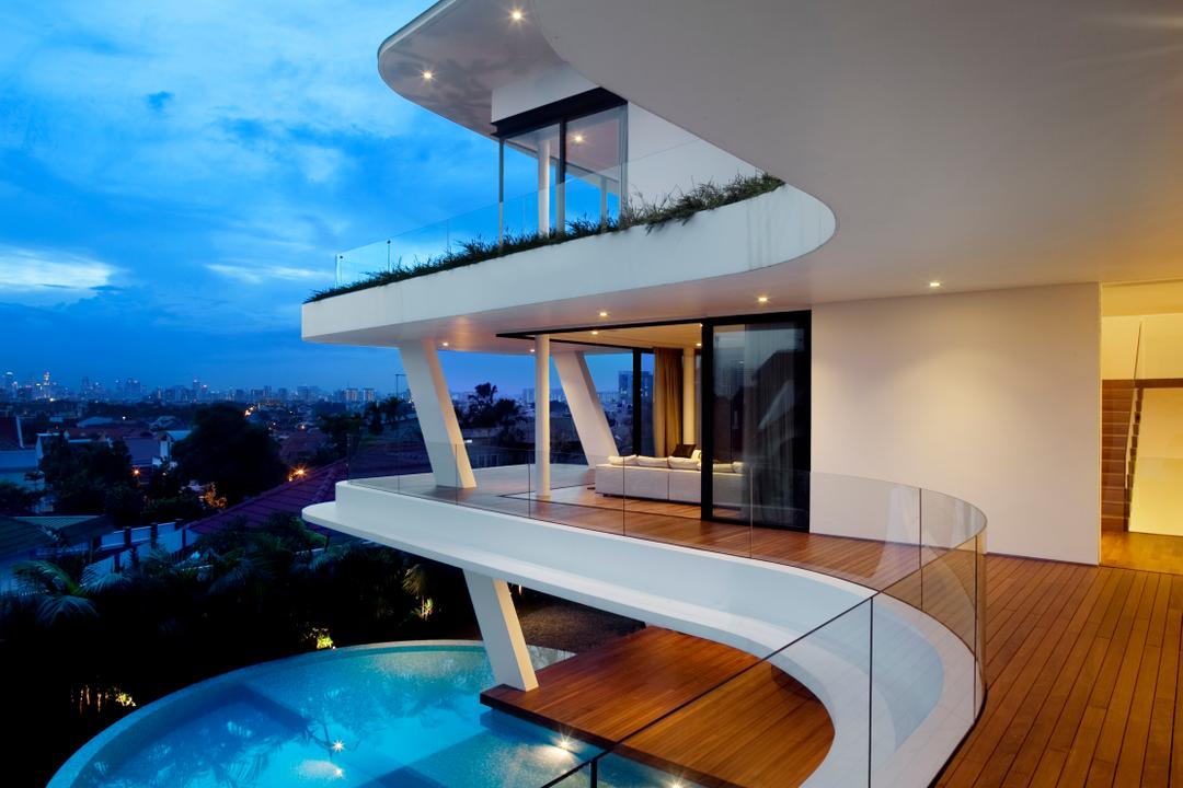 Ninety7 @ Siglap, Aamer Architects, Contemporary, Landed, Curve Architecture, Wooden Flooring, Glass Barricade, Pool, In House Pool, House Pool, Majestic