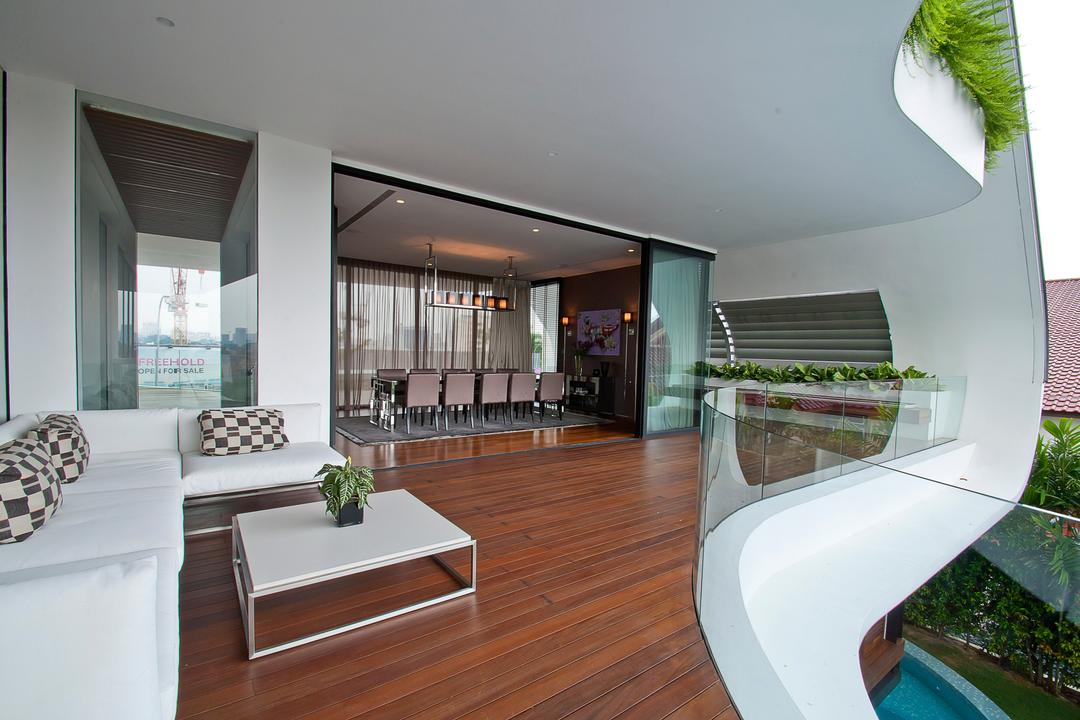 Ninety7 @ Siglap, Aamer Architects, Contemporary, Landed, Wooden Flooring, Curve Architecture, Glass Barricade, L Shaped Sofa, Checkered Cushion, Square Coffee Table, Majestic, Couch, Furniture, Indoors, Interior Design, Balcony