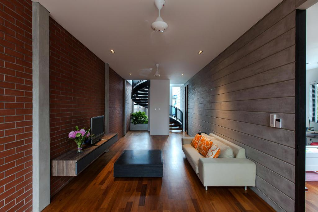 Contemporary, Landed, Jalan Remis, Architect, Aamer Architects, Recessed Lighting, Brick Wall, Laminated Wall, Wooden Flooring, Coffee Table, Black Coffee Table, Black, White Sofa, Wall Mount Shelf, Wall Mount, Shelf, Indoors, Interior Design, Flooring
