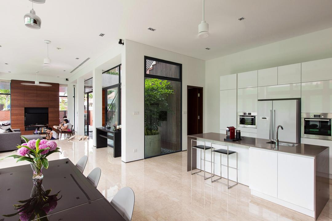 Jalan Remis, Aamer Architects, Contemporary, Landed, Hanging Lights, Marble Flooring, White Cabinets, Tinted Dining Table, White Theme Kitchen, Flooring, Indoors, Interior Design, Flora, Jar, Plant, Potted Plant, Pottery, Vase