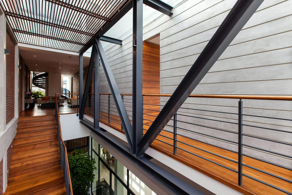 Contemporary, Landed, Jalan Remis, Architect, Aamer Architects, Shelter, Concrete Wall, Wooden Flooring, Wooden Steps, Flora, Jar, Plant, Potted Plant, Pottery, Vase, Flooring, Indoors, Lobby, Room