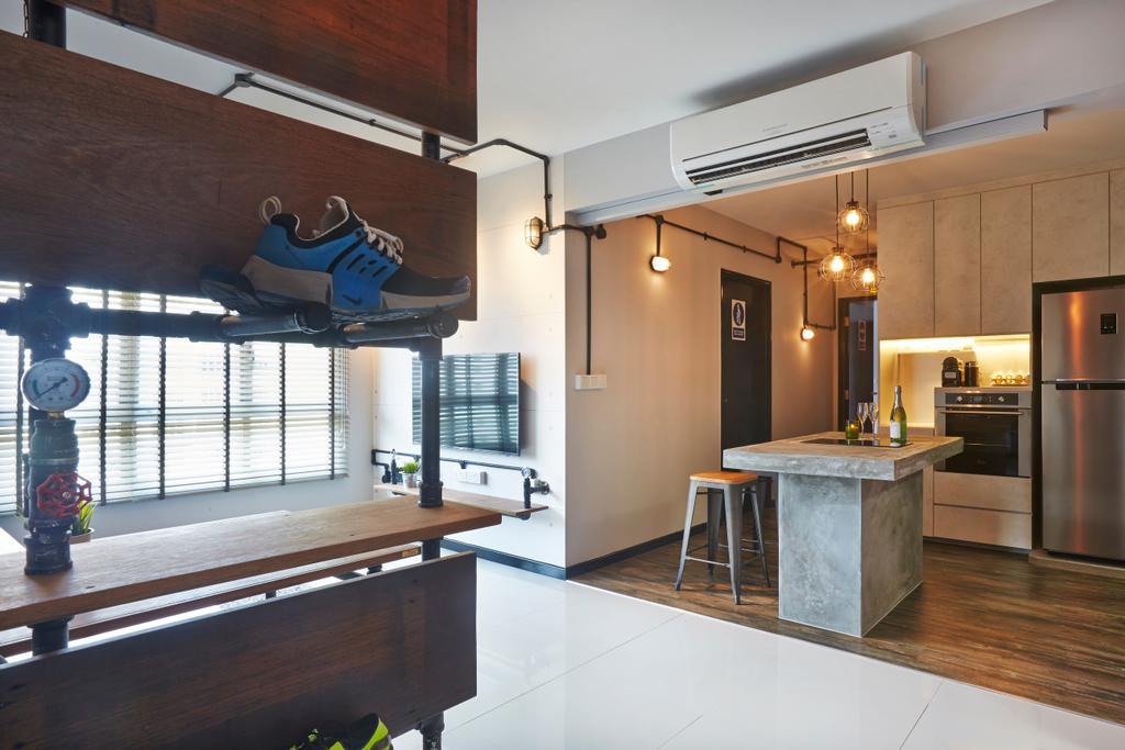 Industrial, HDB, Living Room, Keat Hong, Interior Designer, Dap Atelier, Indoors, Interior Design