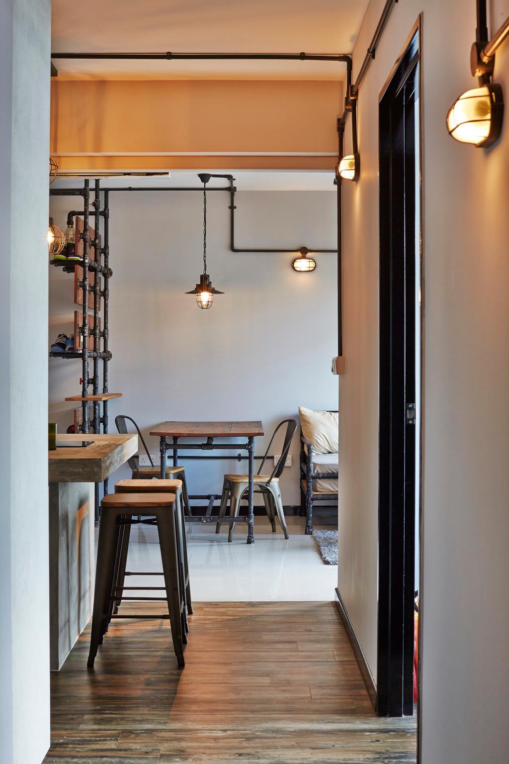 Industrial, HDB, Living Room, Keat Hong, Interior Designer, Dap Atelier, Dining Room, Indoors, Interior Design, Room, Chair, Furniture, Dining Table, Table