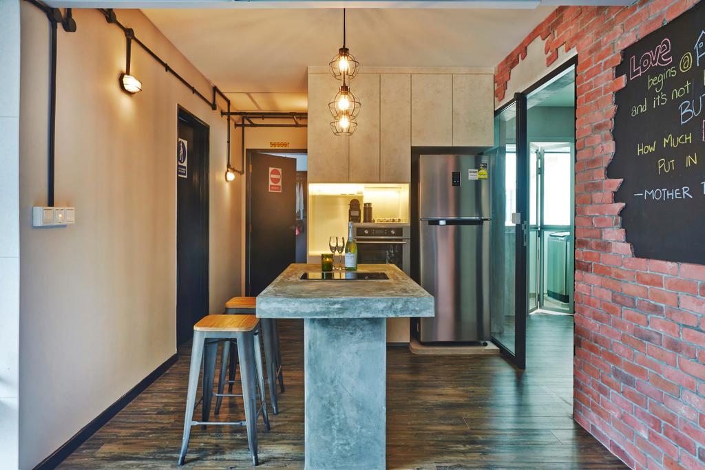 Industrial, HDB, Dining Room, Keat Hong, Interior Designer, Dap Atelier, Brick, Bar Stool, Furniture, Indoors, Interior Design, Room, Dining Table, Table, Kitchen
