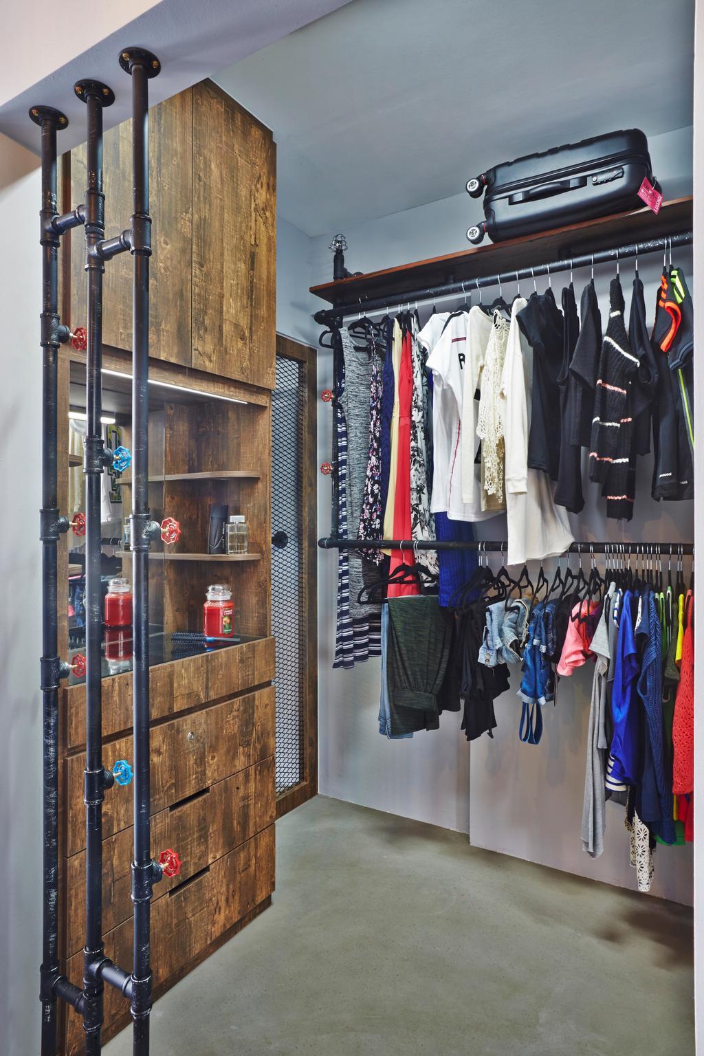 Industrial, HDB, Bedroom, Keat Hong, Interior Designer, Dap Atelier, Apparel, Clothing