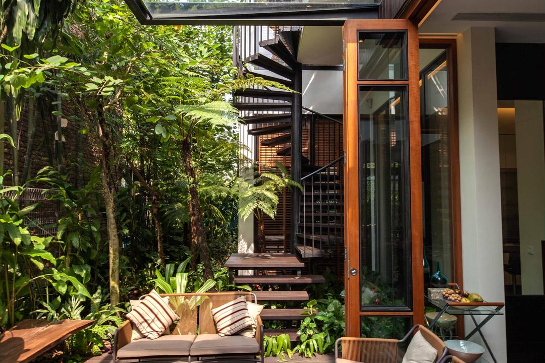 Merryn, Aamer Architects, Contemporary, Landed, Glass Shelter, Wood Theme, Plantation, Outdoor Seats, Tables And Chairs, Cushioned Chairs, Cushions, Twisted Stairway, Molding, Flora, Forest, Land, Nature, Outdoors, Plant, Rainforest, Tree, Vegetation, Balcony, Appliance, Electrical Device, Oven