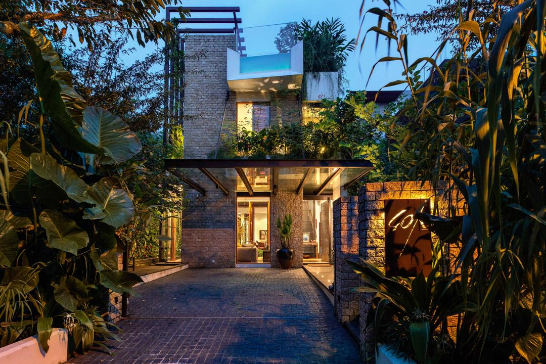Merryn, Aamer Architects, Contemporary, Landed, Entrance, Plantation, Exterior View, Flora, Jar, Plant, Potted Plant, Pottery, Vase, Ivy