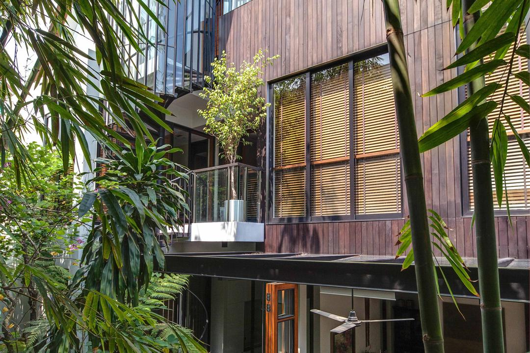 Merryn, Aamer Architects, Contemporary, Landed, Glass Barricade, Trees, Plantation, Wooden Design, Blinds, Arecaceae, Flora, Palm Tree, Plant, Tree, Jar, Potted Plant, Pottery, Vase, Building, House, Housing, Villa, Balcony