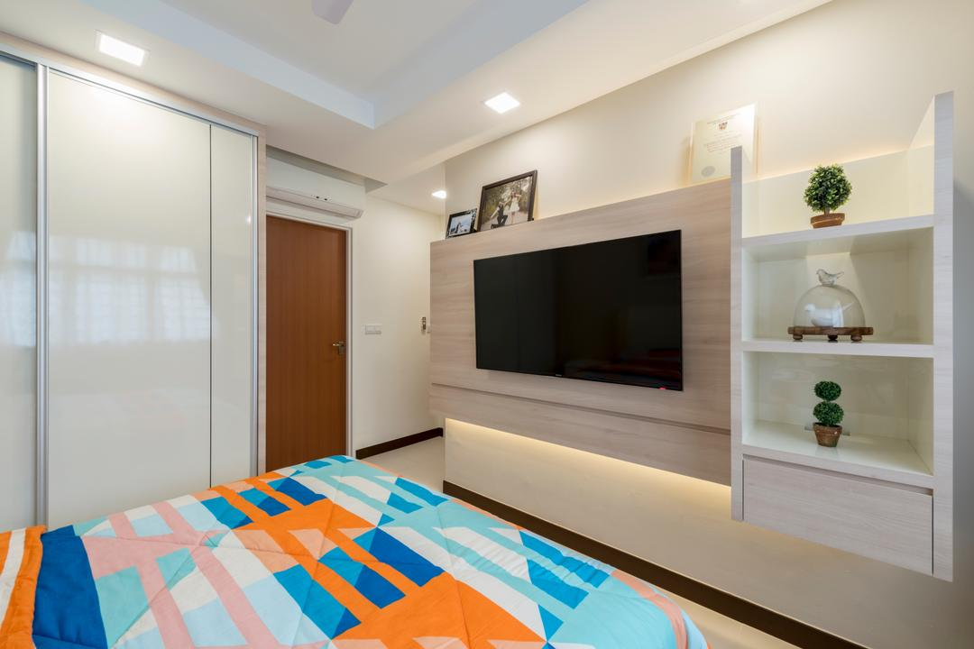 Hougang Parkview, Starry Homestead, Modern, Minimalistic, Bedroom, HDB, Modern Contemporary Bedroom, King Size Bed, Cozy, Cosy, Wall Mounted Television, Hidden Interior Lighting, Wall Mounted Shelves, Wooden Floor, White Wardrobe, Sliding Door Wardrobe, Fireplace, Hearth