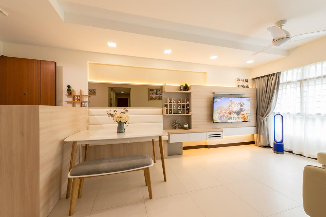 Hougang Parkview, Starry Homestead, Modern, Minimalistic, Living Room, HDB, Modern Contemporary Living Room, Wall Mounted Television, Television Console, Sling Curtain, Recessed Light, Coffered Ceiling, Mini Dining Area, White Dining Table, Dining Bench, Wall Mounted Shelves, Electronics, Entertainment Center, Home Theater, Indoors, Interior Design